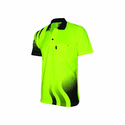 175gsm HiVis Cool-Breathe Hivis Sublimated Wave Polo, S/S ,Availability- End of October