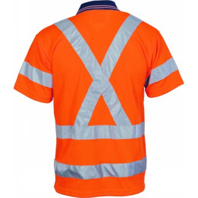 HiVis DN Cool Breathe Polo Shirt w/ X Back & Additional RTape On Back-SS