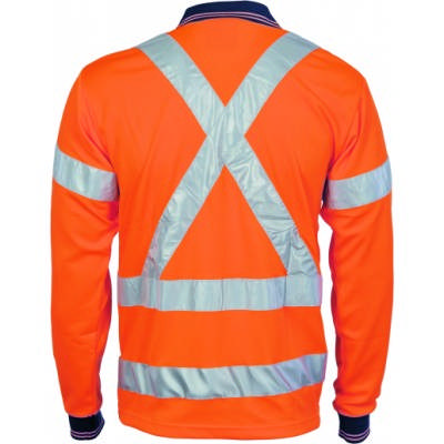 175gsm HiVis D/N Cool Breathe Polo Shirt with Cross Back & additional CSR R/Tape on Back, L/S