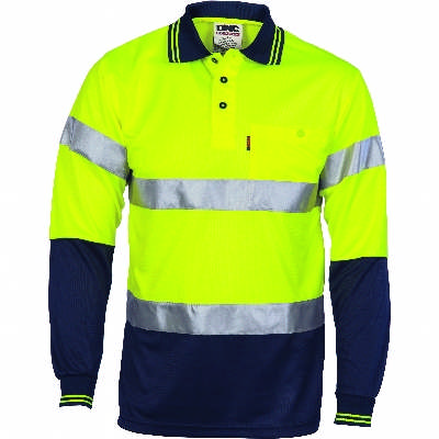 175gsm Polyester HiVis D/N Cool Breathe Polo Shirt with CSR R/Tape, L/S. Availability- In Stock