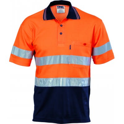 185gsm Cotton Back HiVis Two Tone Polo Shirts with CSR R/Tape, S/S