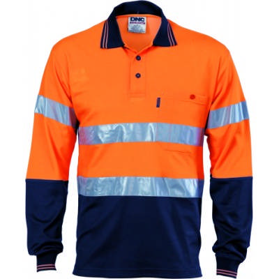 185gsm Cotton Back HiVis Two Tone Polo Shirts with CSR R/Tape, L/S