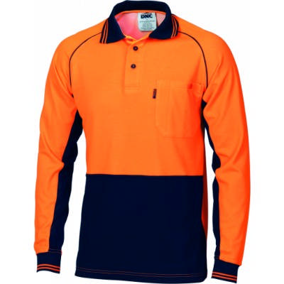 HiVis Ctn Backed Cool-Breeze Contrast Polo-LS