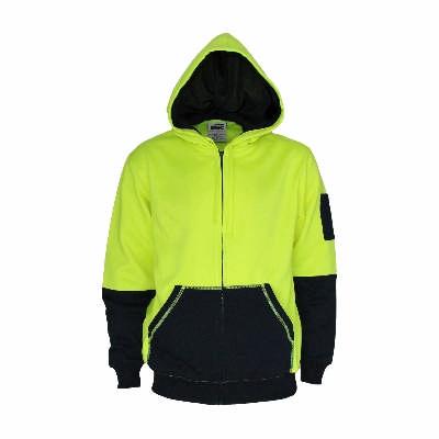 300gsm Hi-Vis 2 tone full zip super fleecy hoodie.