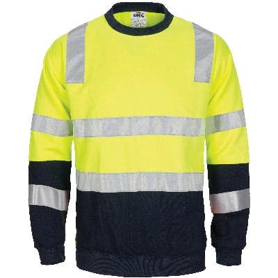 Hi-Vis 2 Tone Crew-Neck Fleecy Sweat Shirt with CSR R/Tape on Body, Shoulder & Sleeves. VIC Rail Comp