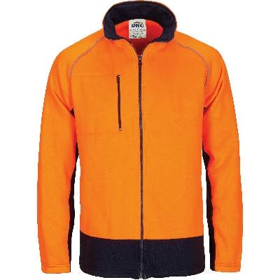 Hi-Vis 2 Tone Full Zip Fleecy Sweat Shirt