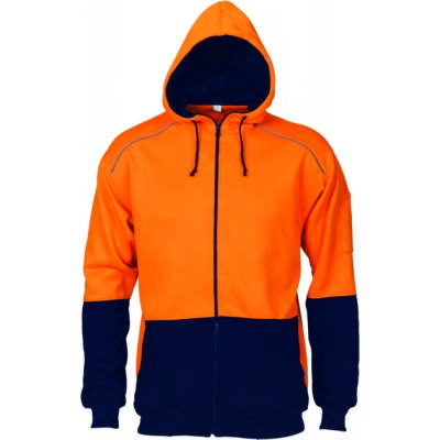 300gsm Polyester CottonHi-Vis Contrast Piping Fleecy Hoodie.
