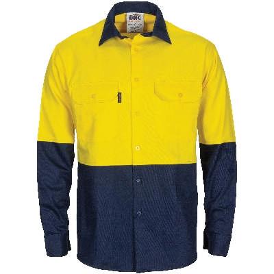 HiVis LW Cool-Breeze T2 Vertical Vented Ctn Shirt w/ Gusset Sleeve- LS