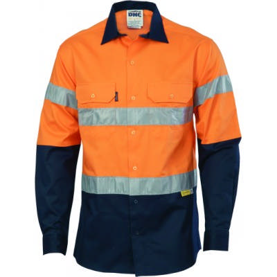 190gsm HiVis Two Tone Drill Shirt With Hoop Style 3M8906 R/Tape, L/S.
