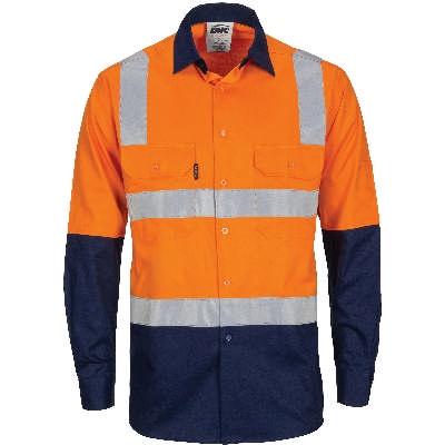 HiVis 2Tone Cool-Breeze Ctn Shirt w/ Hoop & Shoulder CSR RTape-LS