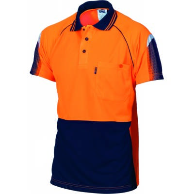 175gsm HiVis Cool-Breathe Hivis Sublimated Piping Polo, S/S