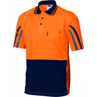 175gsm HiVis Cool-Breathe Printed Stripe Polo , S/S