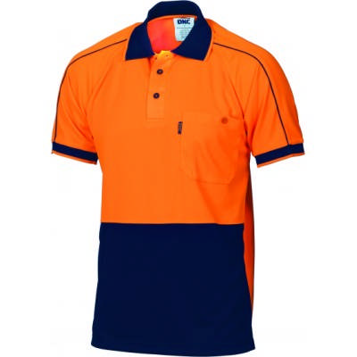 175gsm HiVis Cool-Breathe Double Piping Polo, S/S