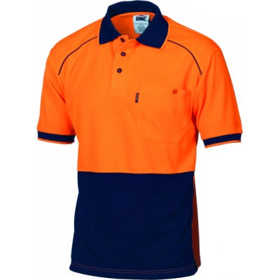 175gsm HiVis Cool-Breathe Front Piping Polo, S/S