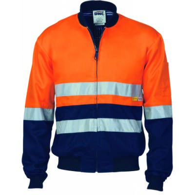 190gsm Hi-Vis Two Tone D/N Cotton Bomber Jacket with ribbing cuffs & waist band, 3M8906 R/tape.