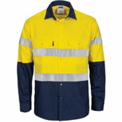 190gsm HiVis Cotton Cool-Breeze T2 Back Vertical Vented Shirt with Gusset Sleeve, CSR R/Tape- Long S