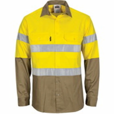 155gsm HiVis L/W Cool-Breeze T2 Back Vertical Vented & under arm Cotton Shirt with Gusset Sleeve, CS