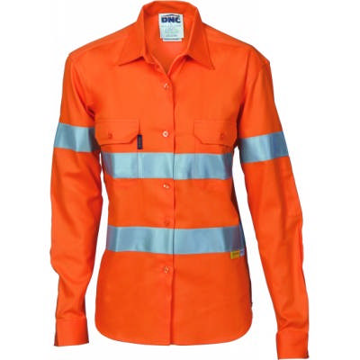 155gsm Ladies HiVis Cool-Breeze Cotton Drill Shirtwith Under Arm Airflow Vents, 3M8906 R/Tape, L/S .