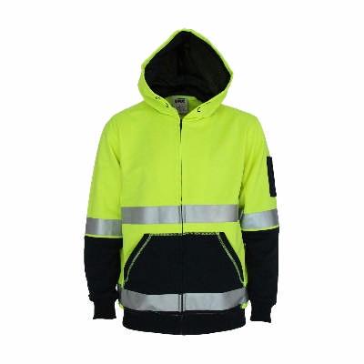 300gsm Hi-Vis 2 tone full zip super fleecy hoodie with CSR R/tape.