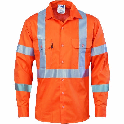 190gsm HiVis Cotton Drill Vented Shirt with Cross Back CSR R/Tape & additional tape on back, double