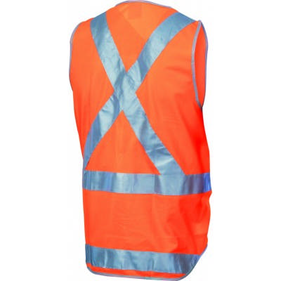 Day/Night Cross Back Safety Vests with Tail, 3M8906 R/Tape