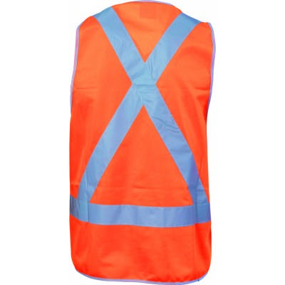 Day & Night Safety Vest with H Pattern in front & Cross Back CSR R/Tape