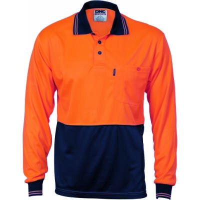 HiVis 2Tone Cool Breathe Polo Shirt, LS