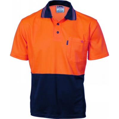 185gsm Cotton Back HiVis Two Tone Fluoro Polo Shirt, S/S
