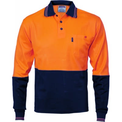 185gsm Cotton Back HiVis Two Tone Fluoro Polo Shirt, L/S