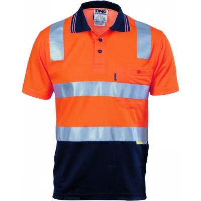 185gsm Cotton Back HiVis Two Tone Polo Shirts with 3M8906 R/Tape, S/S