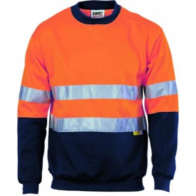 300gsm Polyester Cotton Hi-Vis Two Tone Sweatshirt (Sloppy Joe) whtih 3M8906 R/Tape, Crew Neck