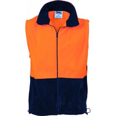 300gsm Polyester HiVis Two Tone Full Zip Polar Fleece Vest