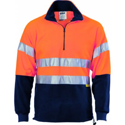 300gsm Polyester Hi-Vis Two Tone 1/2 Zip Polar Fleece With 3M8906 Reflective Tape