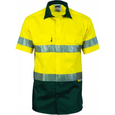 190gsm HiVis Two Tone Drill Shirt With Hoop Style 3M8906 R/Tape, S/S