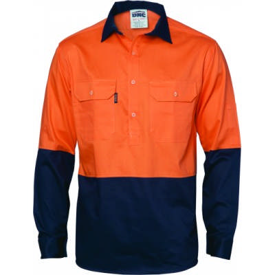 190gsm HiVis Two Tone Closed Front Cotton Drill Shirt, L/S, Gusset Sleeve