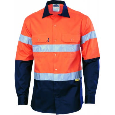 190gsm HiVis Two Tone Drill Shirt With Hoop Style 3M8910 R/Tape, L/S