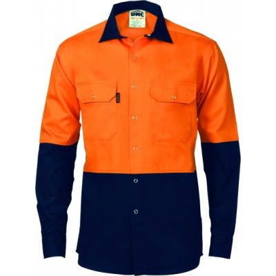 190gsm HiVis Two Tone Drill Shirt With Press Stud