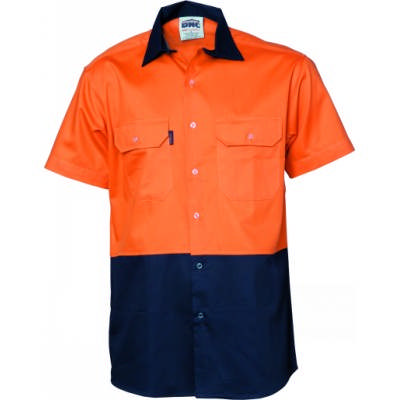 155gsm HiVis Two Tone Cool-Breeze Cotton Shirt with Under arm Airflow Vents, S/S