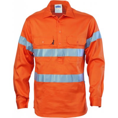 190gsm HiVis Closed Front Cotton Drill Shirt with Hoop Style 3M8906 R/Tape, L/S, Gusset Sleeve