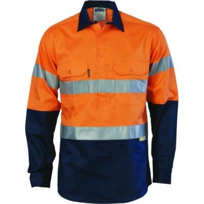 190gsm HiVis Two Tone Closed Front Cotton Drill Shirt with 3M8906 R/Tape, L/S, Gusset Sleeve
