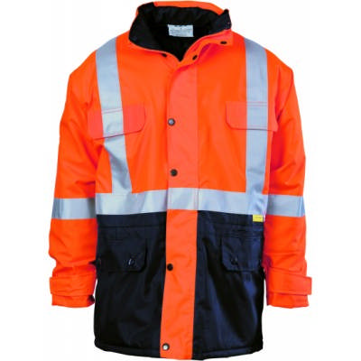 300D Polyester/PU Hi-Vis Two Tone Long Quilted Jacket with 3M8906 R/Tape