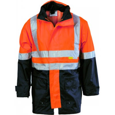 300D Polyester/PU Hi-Vis Two Tone Breathable Rain Jacket with 3M8906 R/Tape