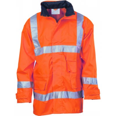 300D Polyester/PU Hi-Vis Breathable Rain Jacket With 3M8906 R/Tape