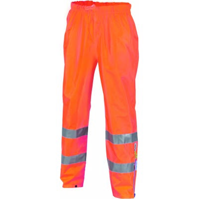 300D Polyester/PU Hi-Vis Breathable Rain Trousers with 3M8906 R/Tape
