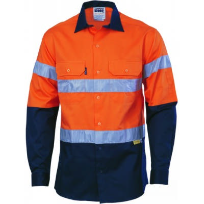 155gsm HiVis Two Tone Cool-Breeze Cotton Shirt with Under arm Airflow Vents, 3M8910 R/Tape, L/S