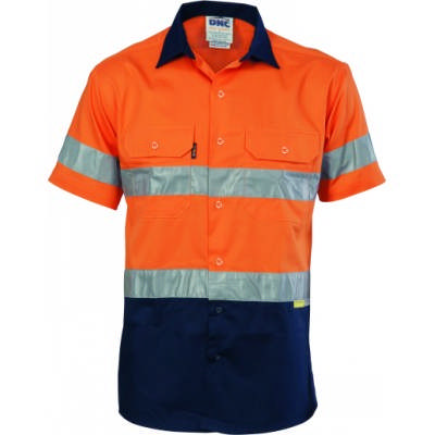 155gsm HiVis Two Tone Cool-Breeze Cotton Shirt with Under Arm Airflow Vents, 3M 8906 R/Tape, S/S