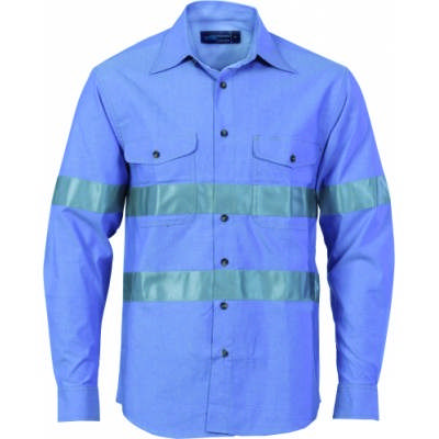 155gsm HiVis Chambray Shirt with CSR R/Tape, L/S