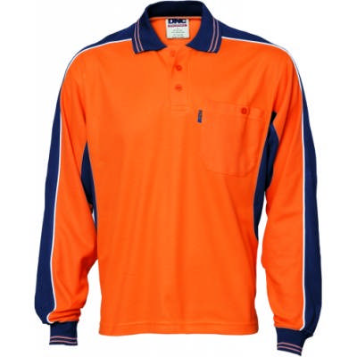 220gsm Polyester Cotton Contrast Polo Shirt, L/S