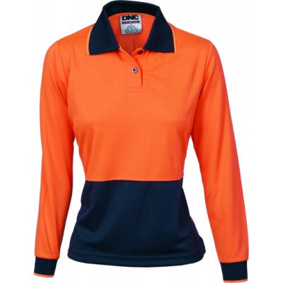175gsm Ladies HiVis Two Tone Polo, L/S