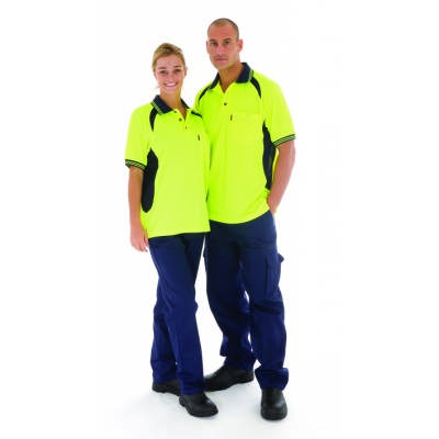 175gsm HiVis Cool-Breeze Contrast Mesh Panel Polo Shirt, S/S